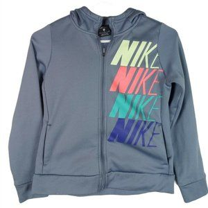 Nike Youth Girls' Blue Therma Graphic FZ Hoodie